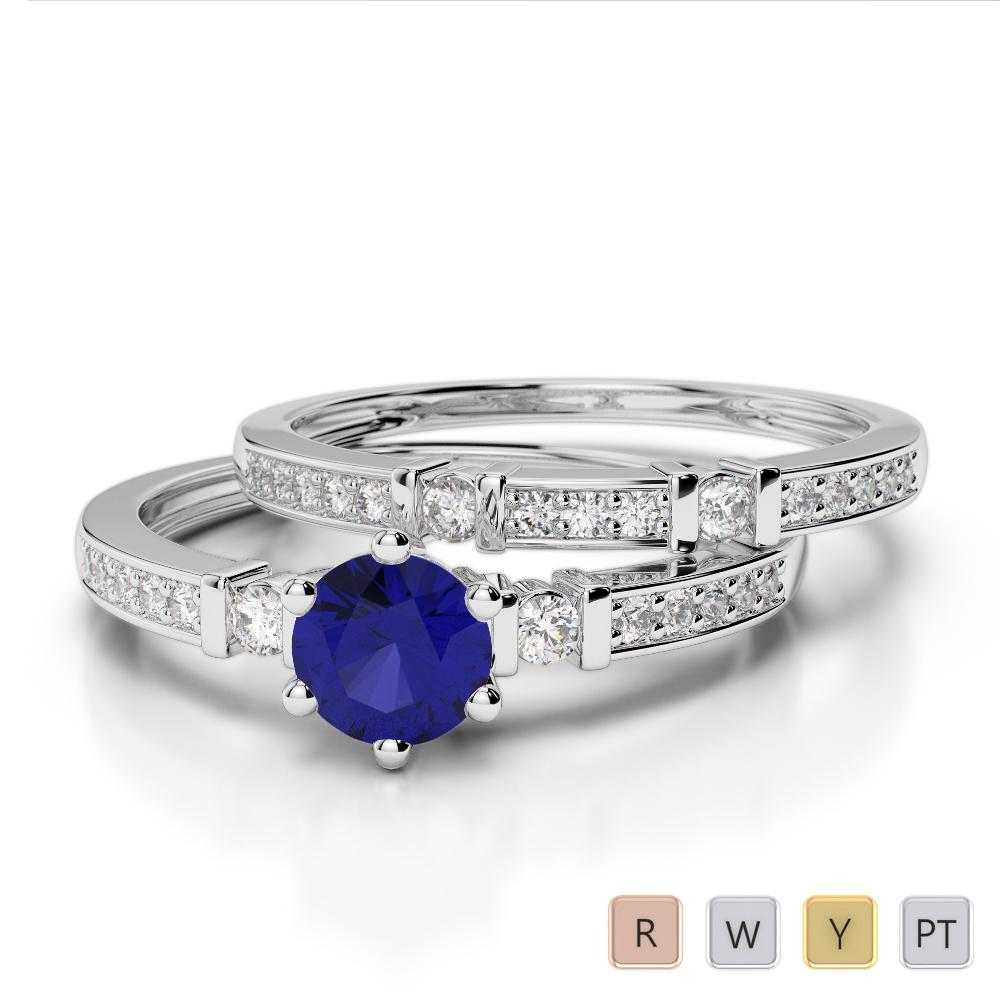 Gold / Platinum Round cut Sapphire and Diamond Bridal Set Ring AGDR-1150