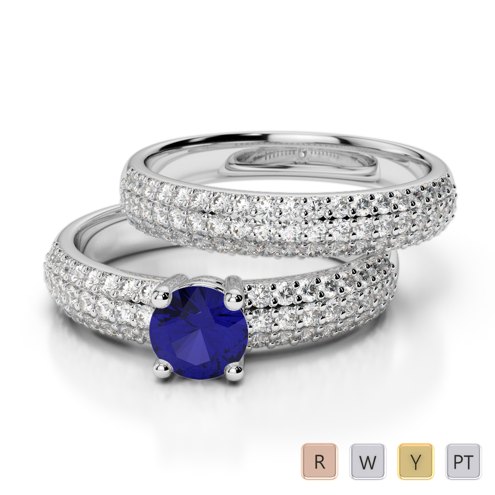 Gold / Platinum Round cut Sapphire and Diamond Bridal Set Ring AGDR-1152