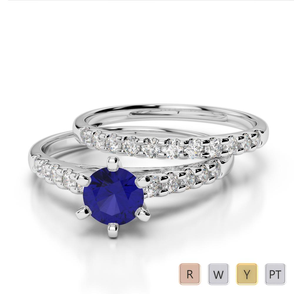 Gold / Platinum Round cut Sapphire and Diamond Bridal Set Ring AGDR-1153