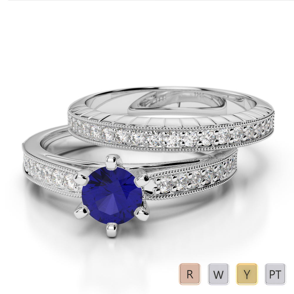 Gold / Platinum Round cut Sapphire and Diamond Bridal Set Ring AGDR-1154