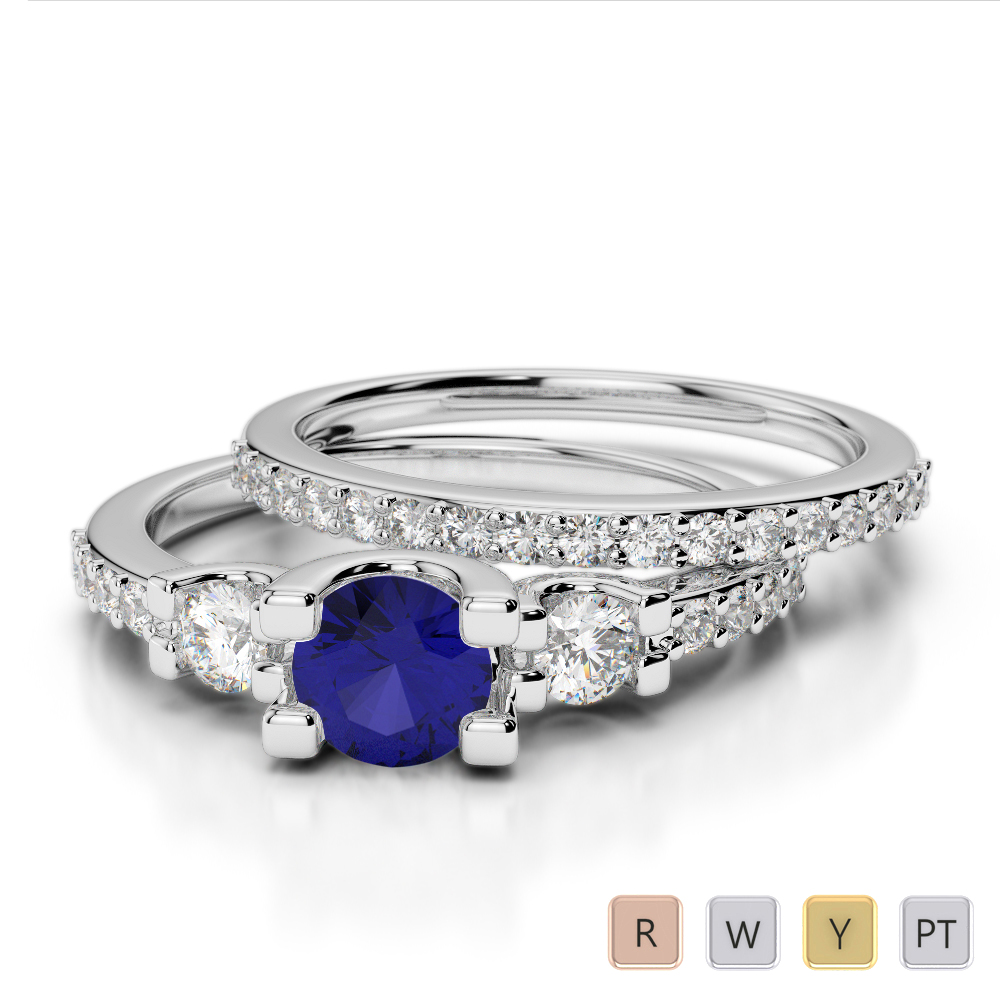 Gold / Platinum Round cut Sapphire and Diamond Bridal Set Ring AGDR-1155