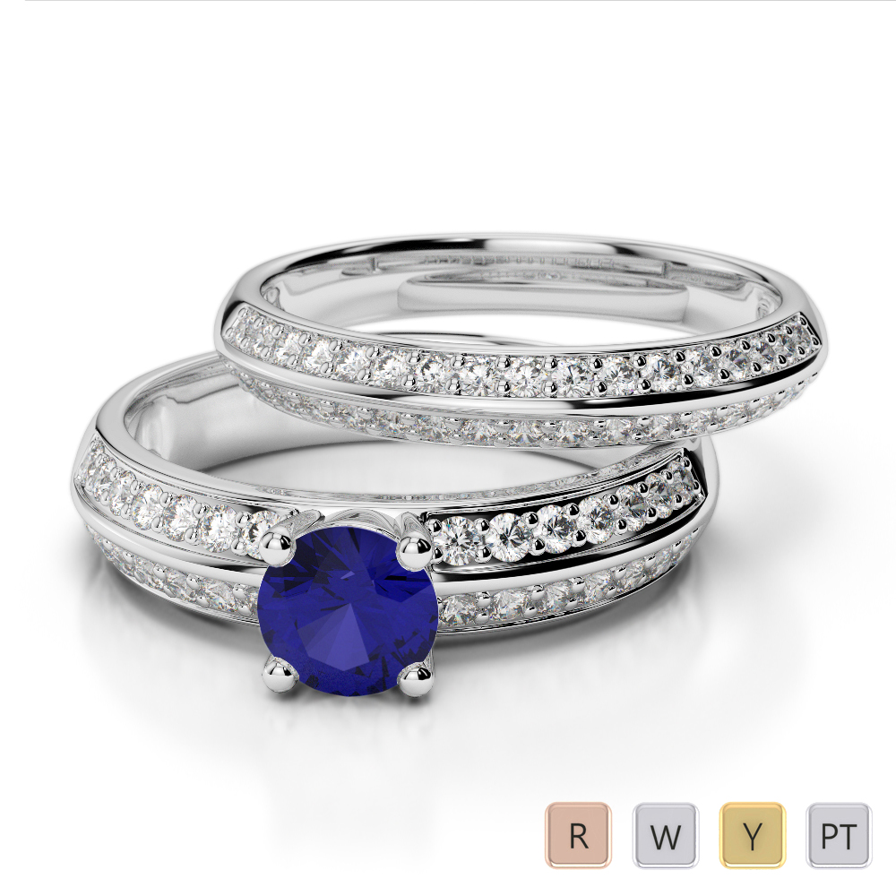 Gold / Platinum Round cut Sapphire and Diamond Bridal Set Ring AGDR-1156