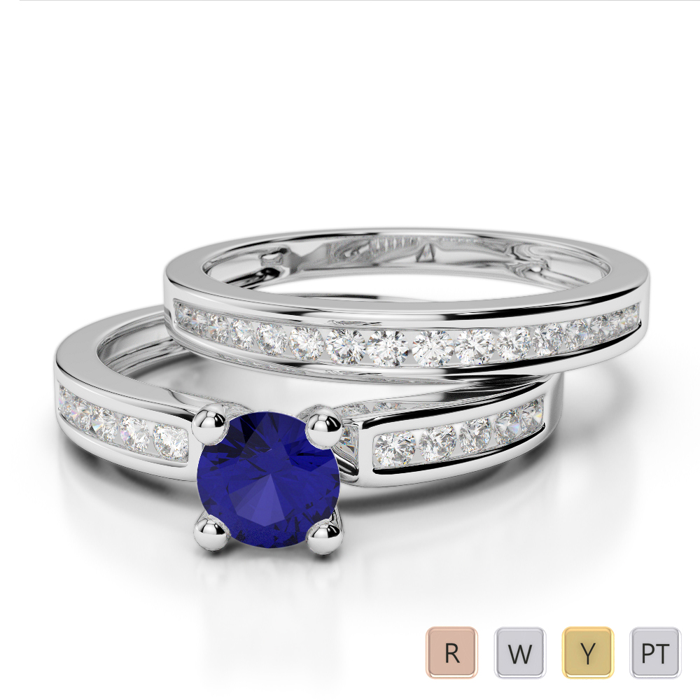 Gold / Platinum Round cut Sapphire and Diamond Bridal Set Ring AGDR-1157