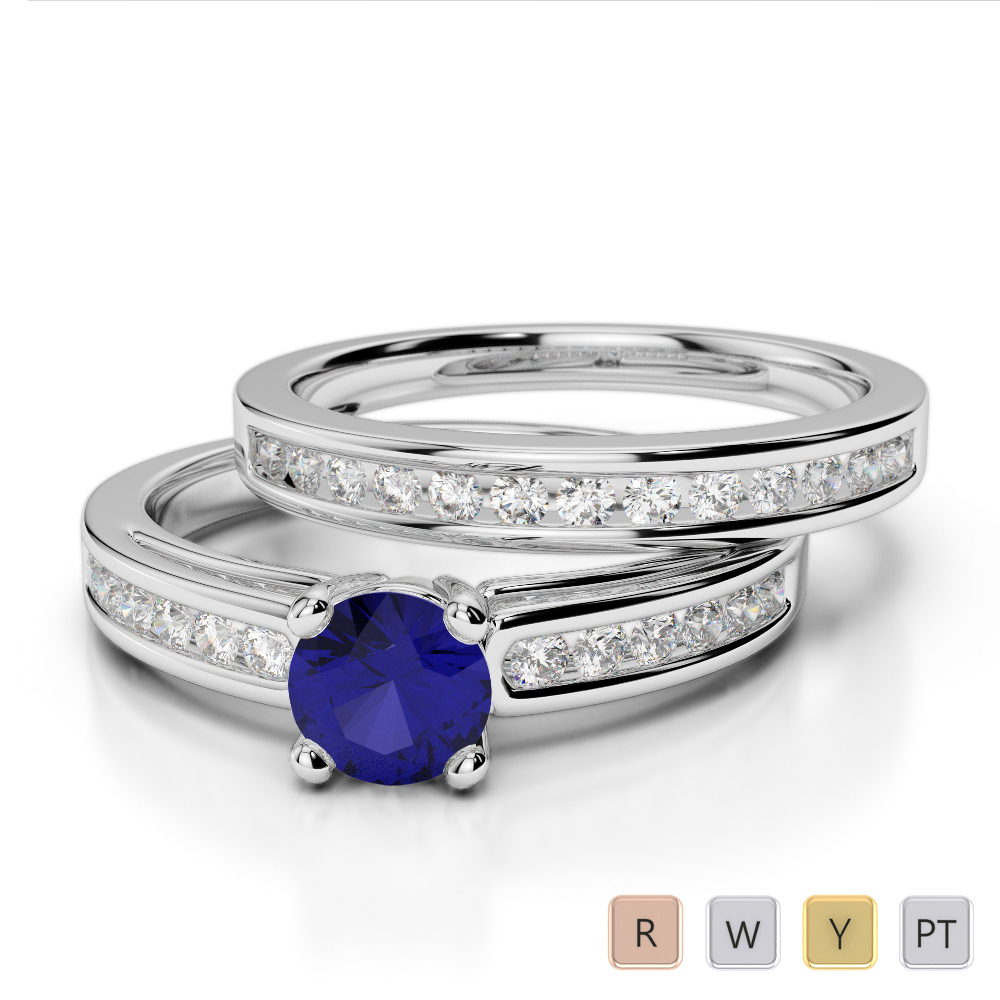 Gold / Platinum Round cut Sapphire and Diamond Bridal Set Ring AGDR-1159