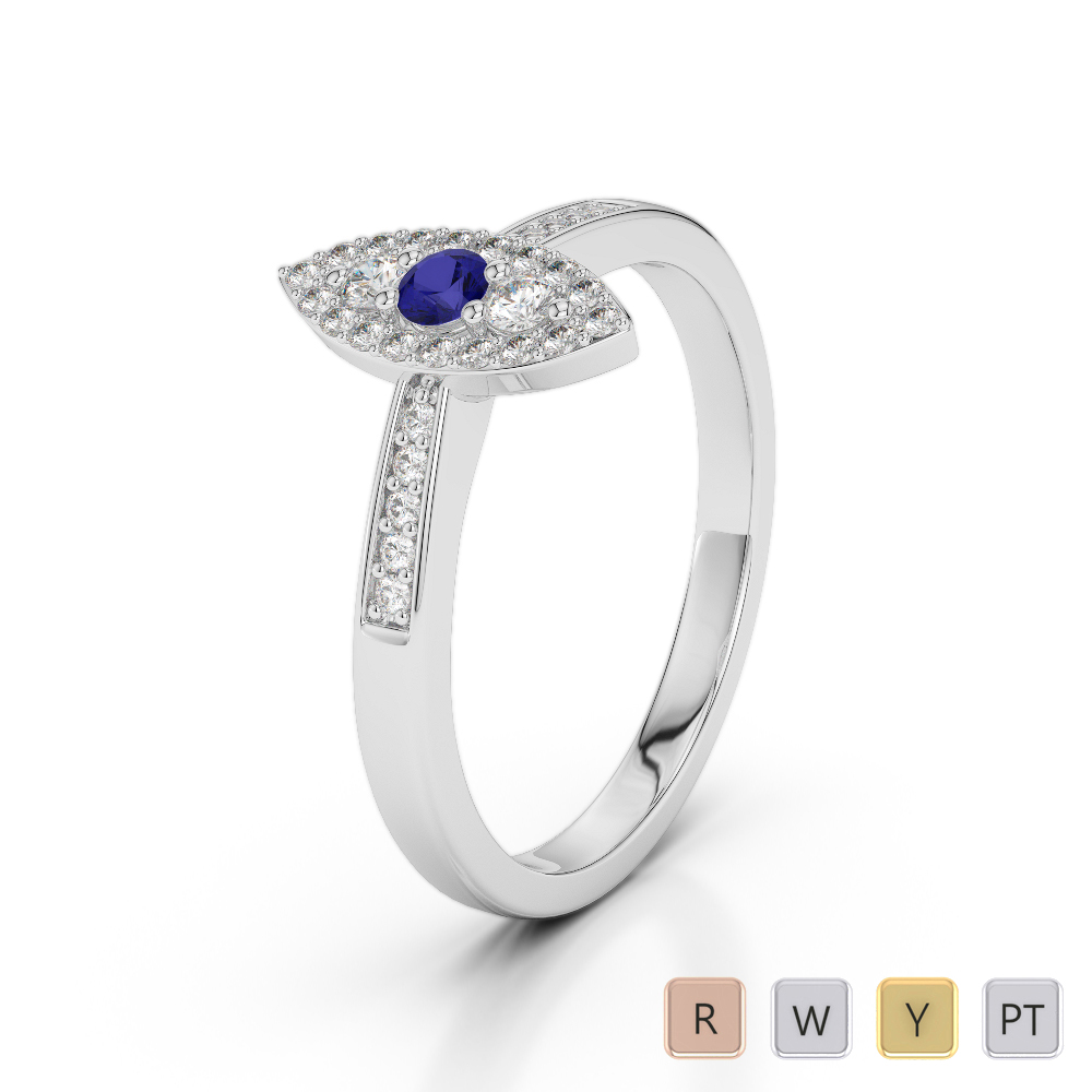 Gold / Platinum Round Cut Sapphire and Diamond Engagement Ring AGDR-1161