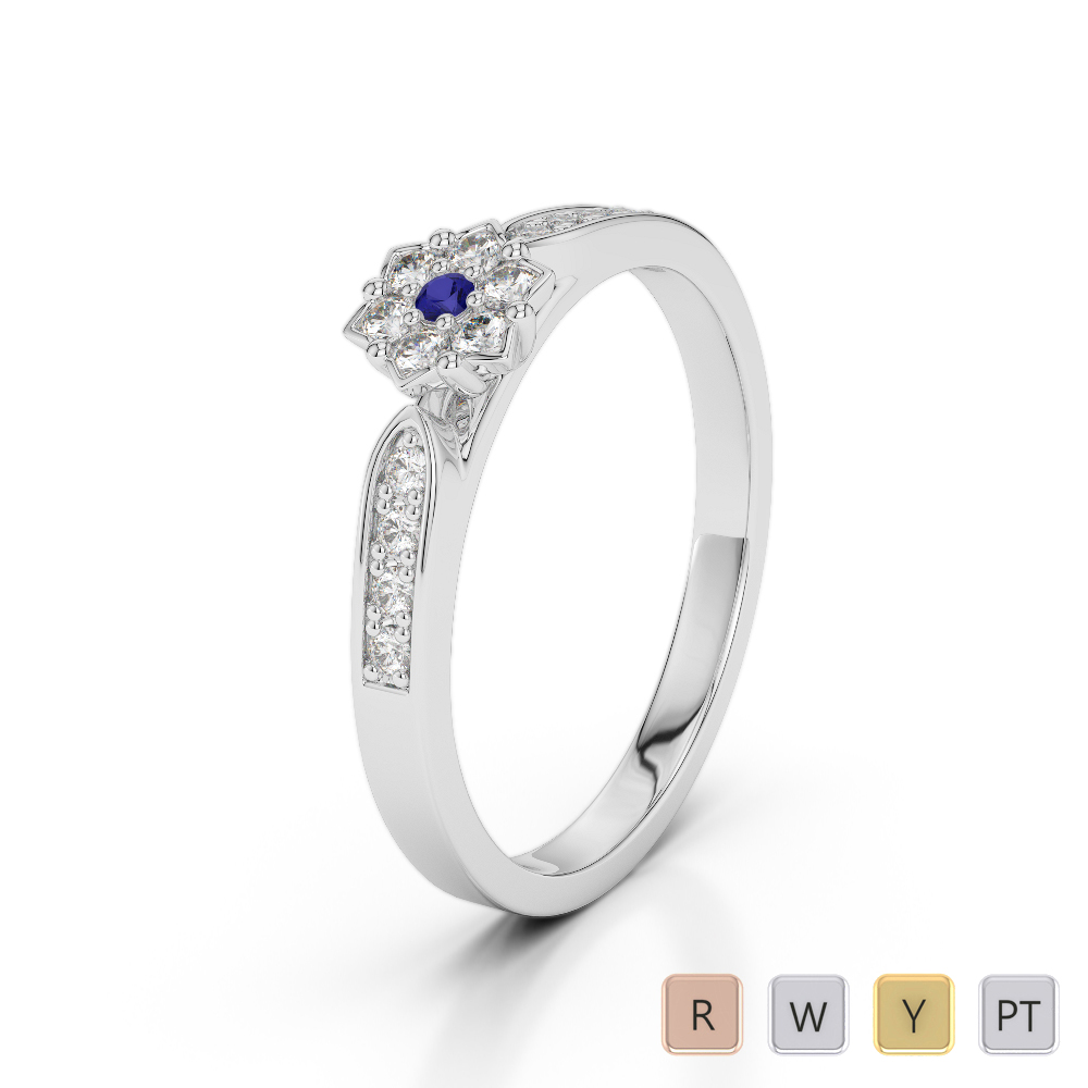 Gold / Platinum Round Cut Sapphire and Diamond Engagement Ring AGDR-1162