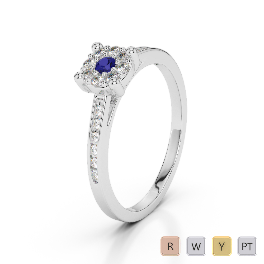 Gold / Platinum Round Cut Sapphire and Diamond Engagement Ring AGDR-1163