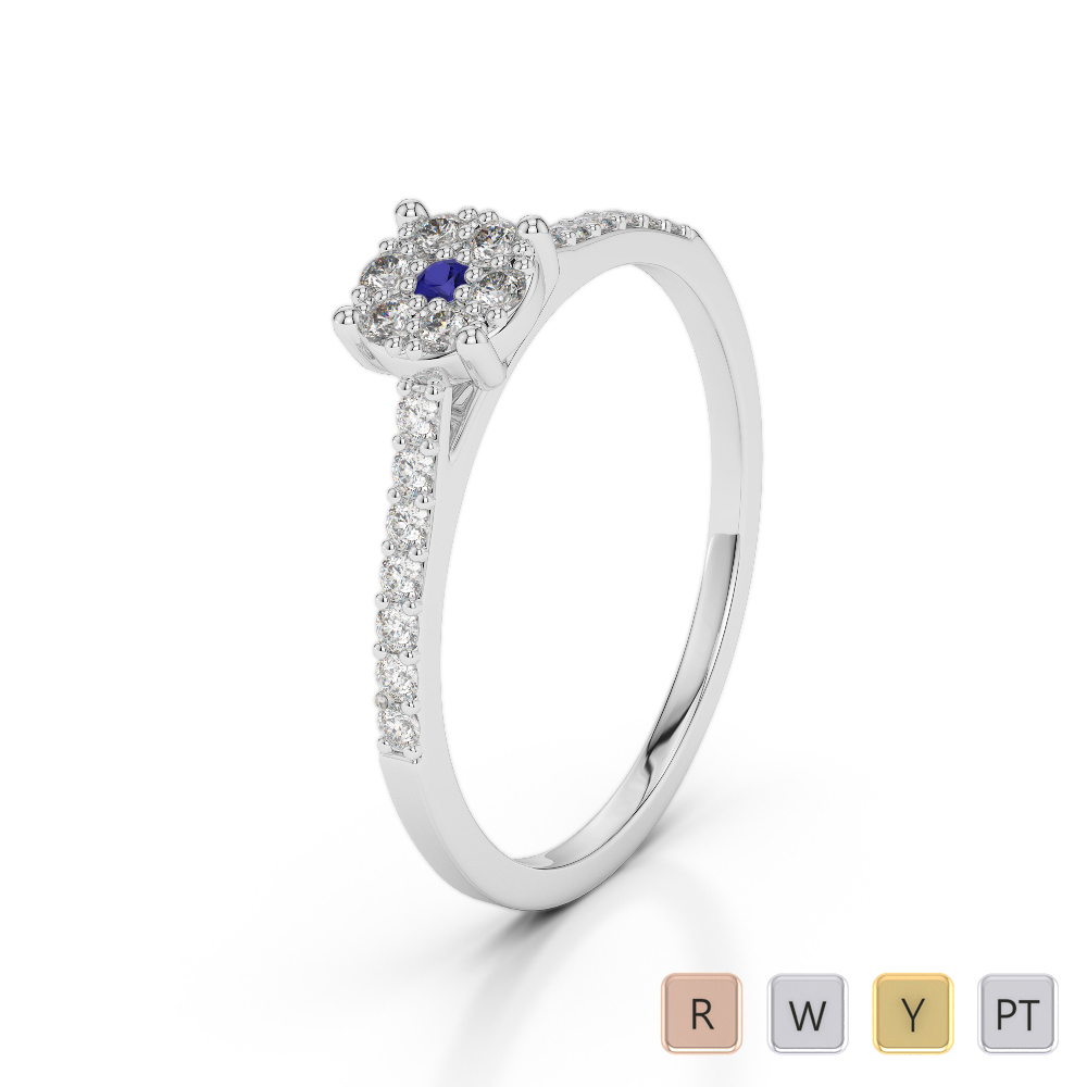 Gold / Platinum Round Cut Sapphire and Diamond Engagement Ring AGDR-1164