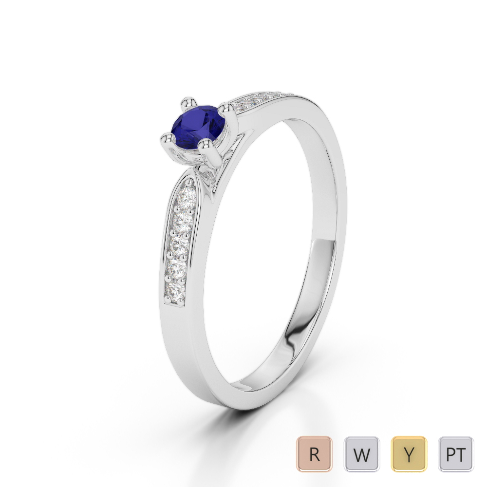 Gold / Platinum Round Cut Sapphire and Diamond Engagement Ring AGDR-1165