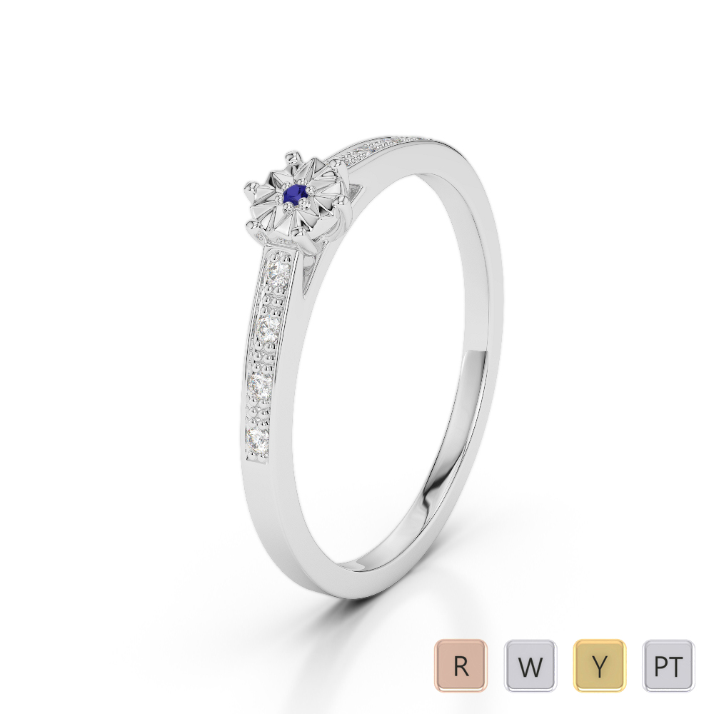 Gold / Platinum Round Cut Sapphire and Diamond Engagement Ring AGDR-1167