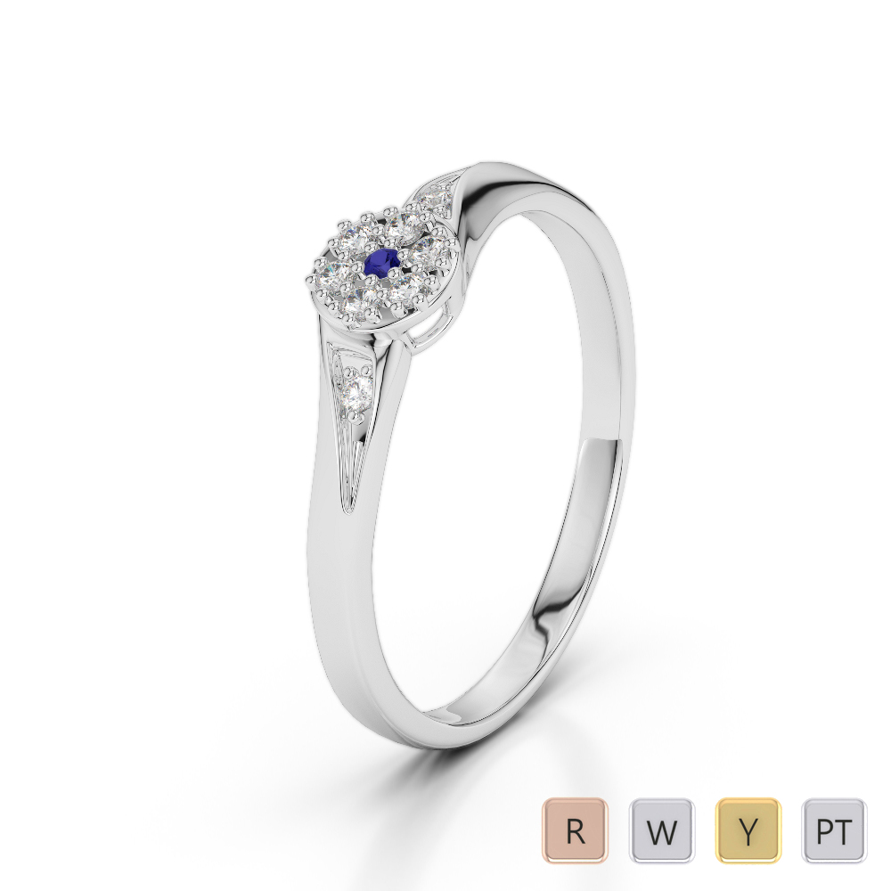 Gold / Platinum Round Cut Sapphire and Diamond Engagement Ring AGDR-1168