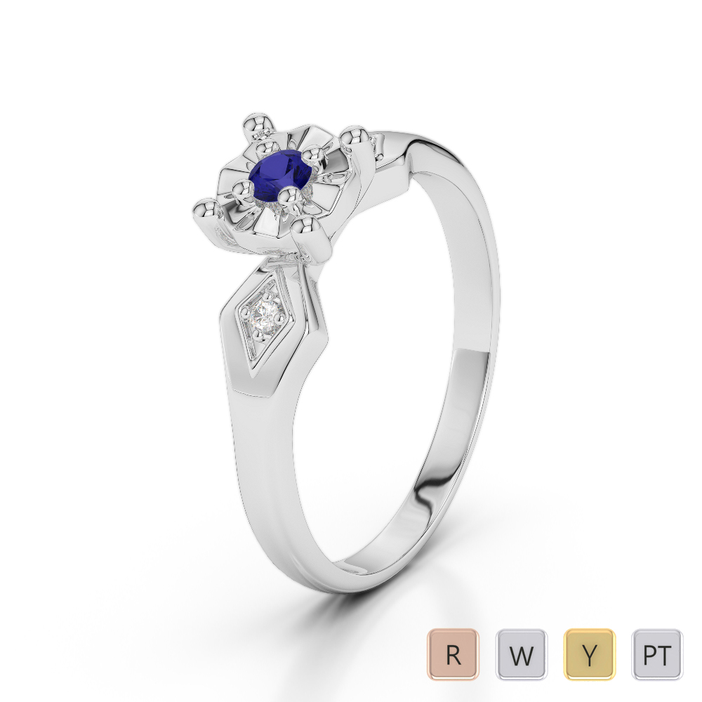 Gold / Platinum Round Cut Sapphire and Diamond Engagement Ring AGDR-1169