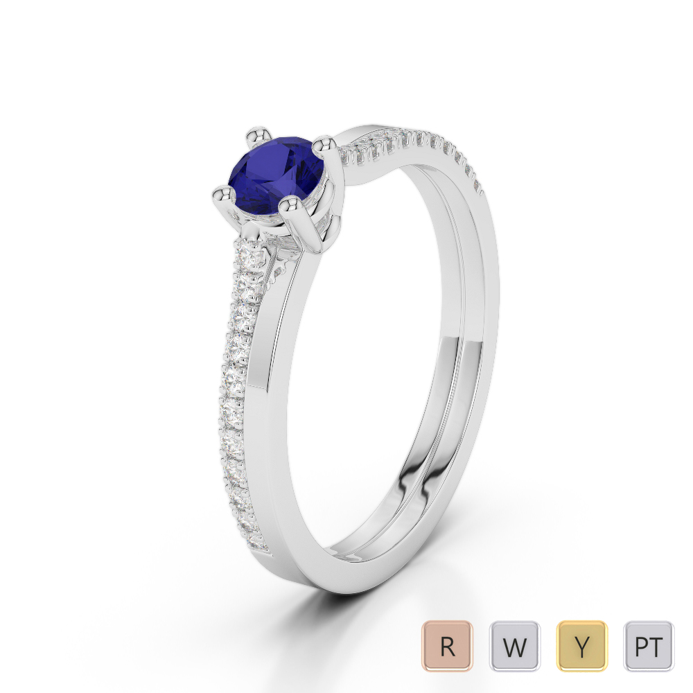 Gold / Platinum Round Cut Sapphire and Diamond Engagement Ring AGDR-1170