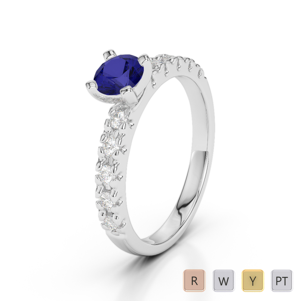 Gold / Platinum Round Cut Sapphire and Diamond Engagement Ring AGDR-1171