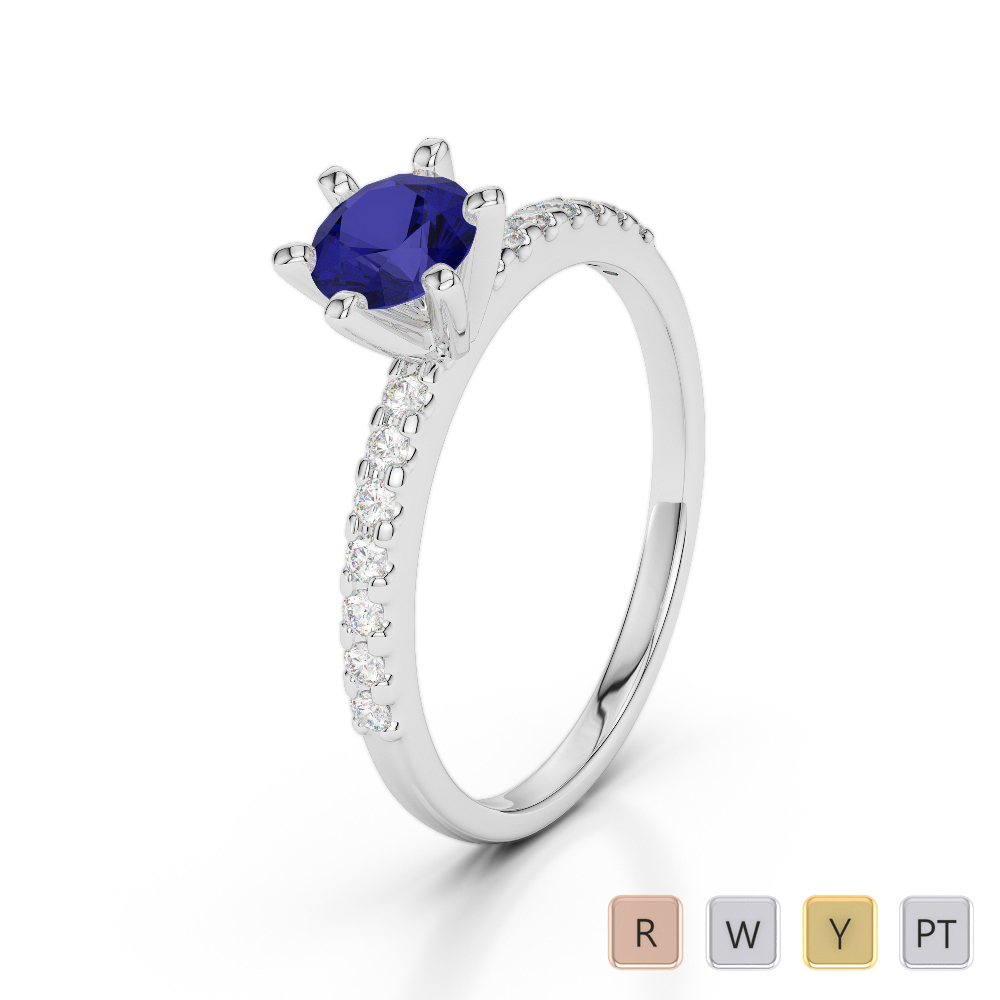 Gold / Platinum Round Cut Sapphire and Diamond Engagement Ring AGDR-1172