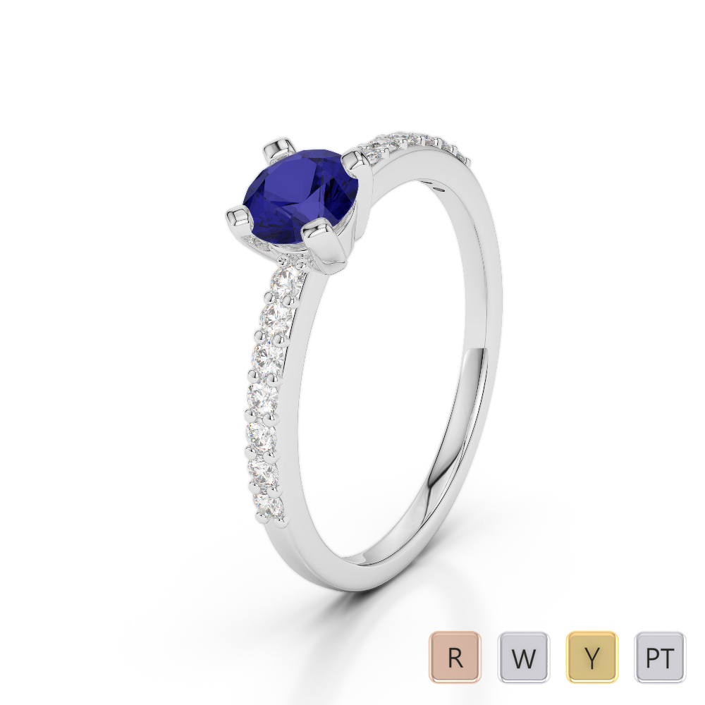 Gold / Platinum Round Cut Sapphire and Diamond Engagement Ring AGDR-1173