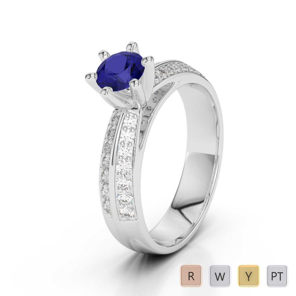 Gold / Platinum Round Cut Sapphire and Diamond Engagement Ring AGDR-1174