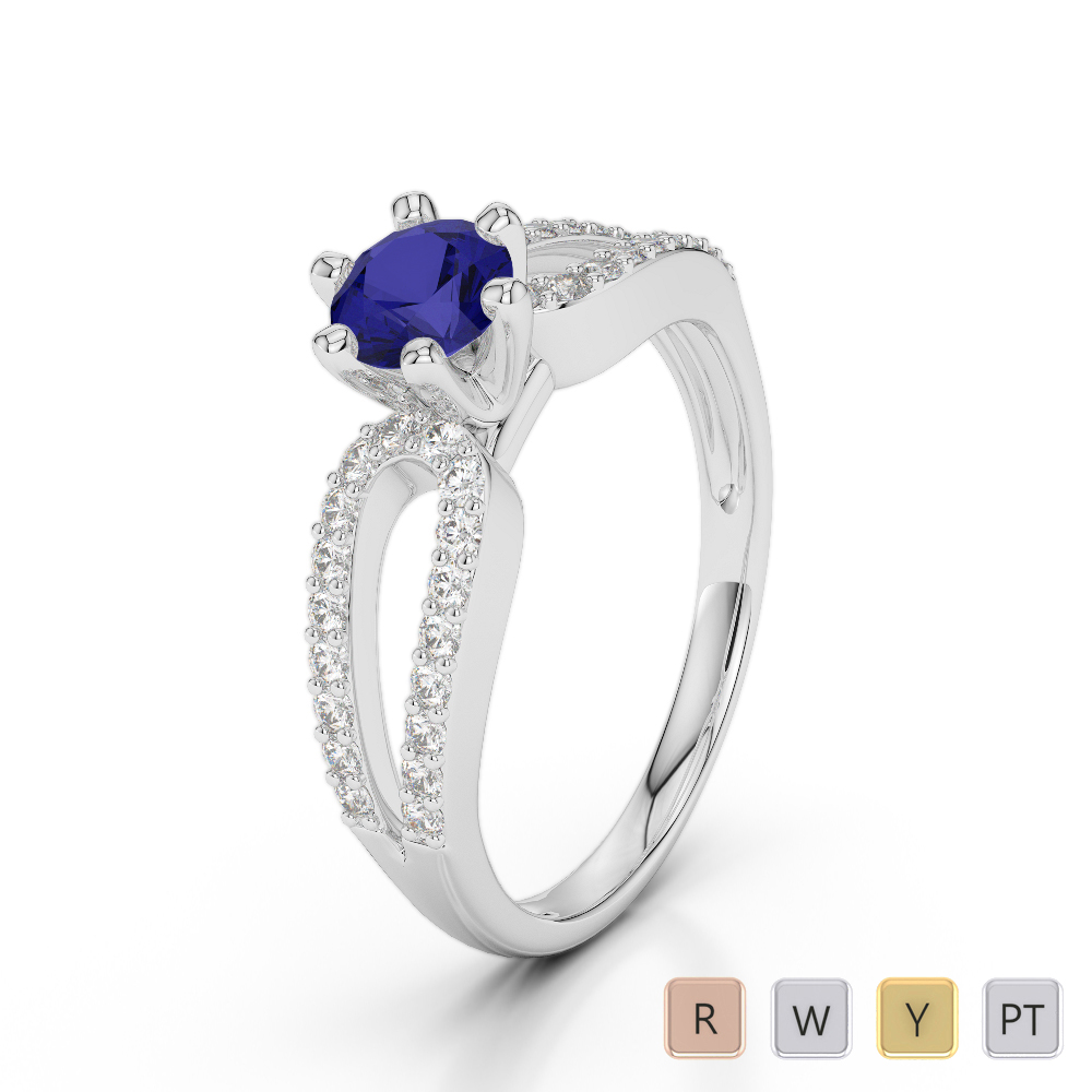Gold / Platinum Round Cut Sapphire and Diamond Engagement Ring AGDR-1175