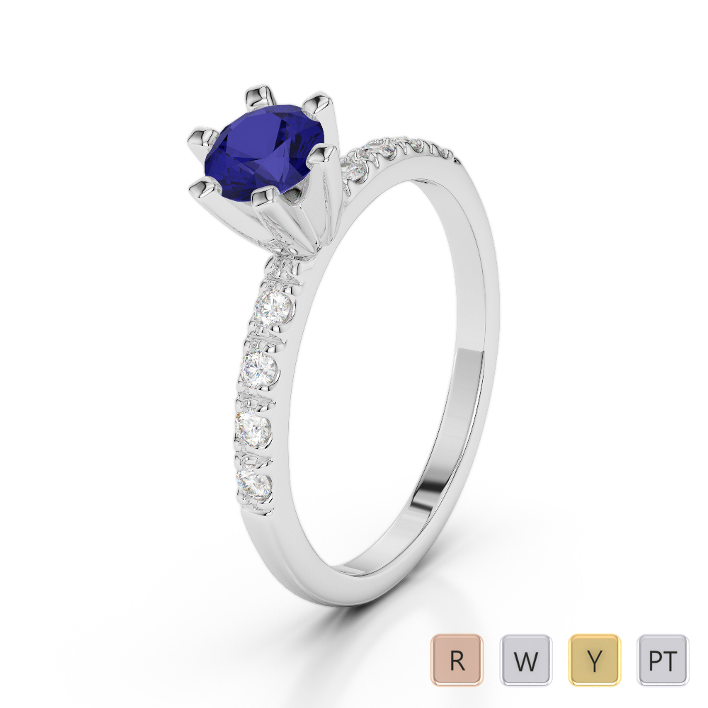Gold / Platinum Round Cut Sapphire and Diamond Engagement Ring AGDR-1176