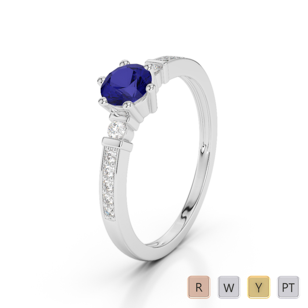 Gold / Platinum Round Cut Sapphire and Diamond Engagement Ring AGDR-1177