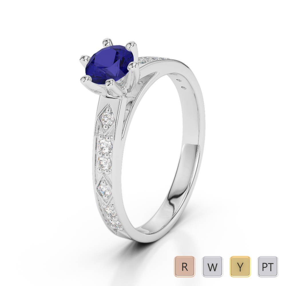 Gold / Platinum Round Cut Sapphire and Diamond Engagement Ring AGDR-1178