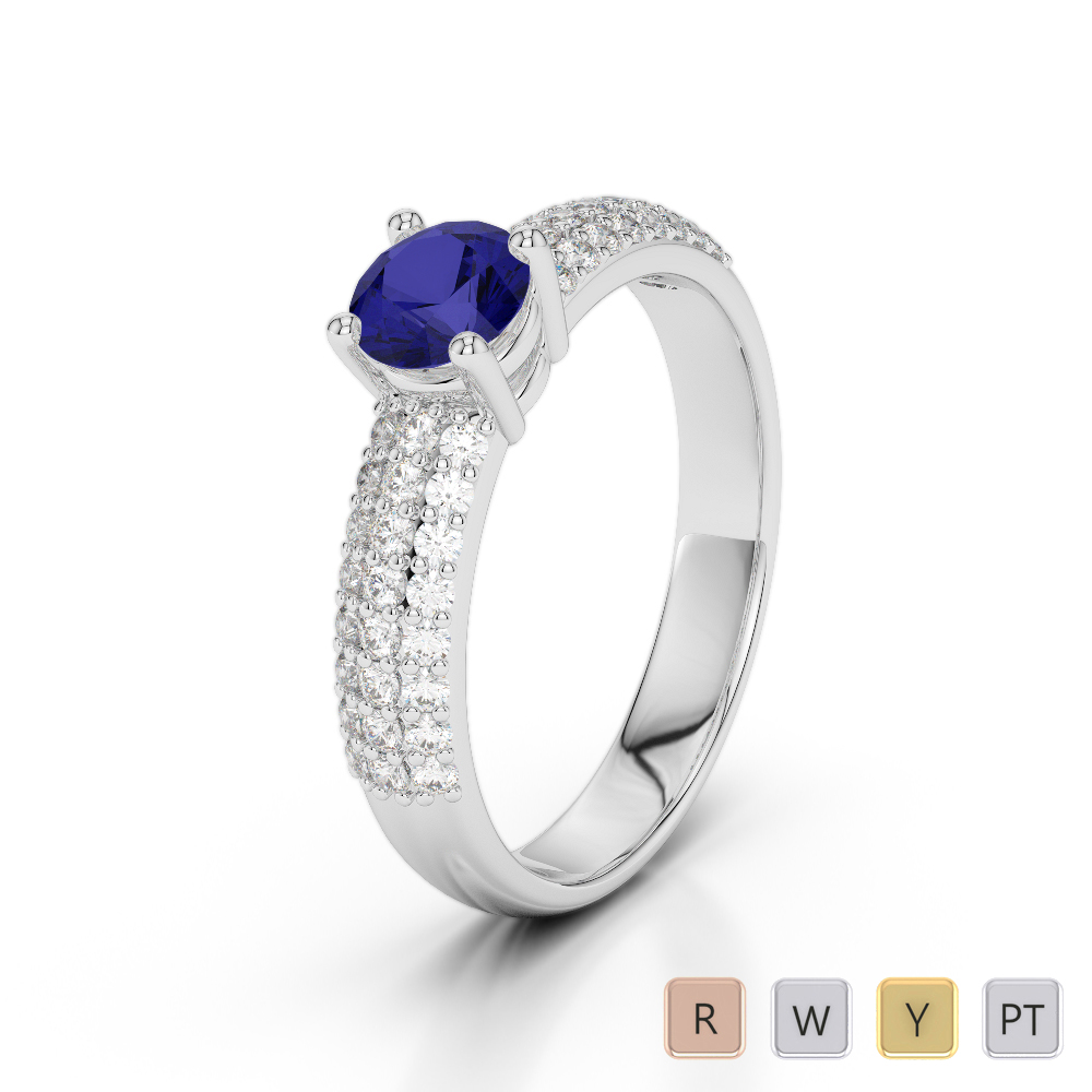 Gold / Platinum Round Cut Sapphire and Diamond Engagement Ring AGDR-1179