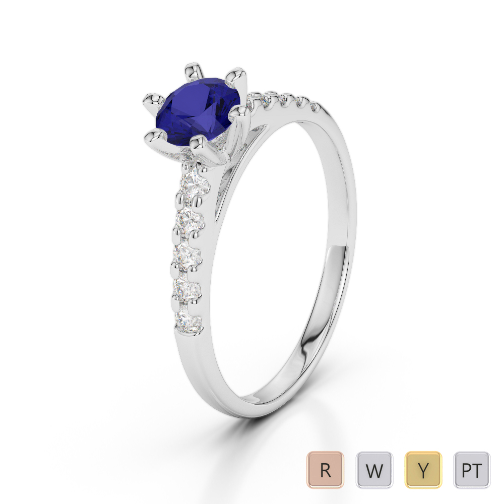 Gold / Platinum Round Cut Sapphire and Diamond Engagement Ring AGDR-1180