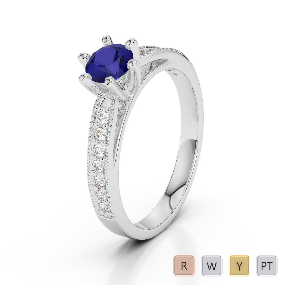 Gold / Platinum Round Cut Sapphire and Diamond Engagement Ring AGDR-1181