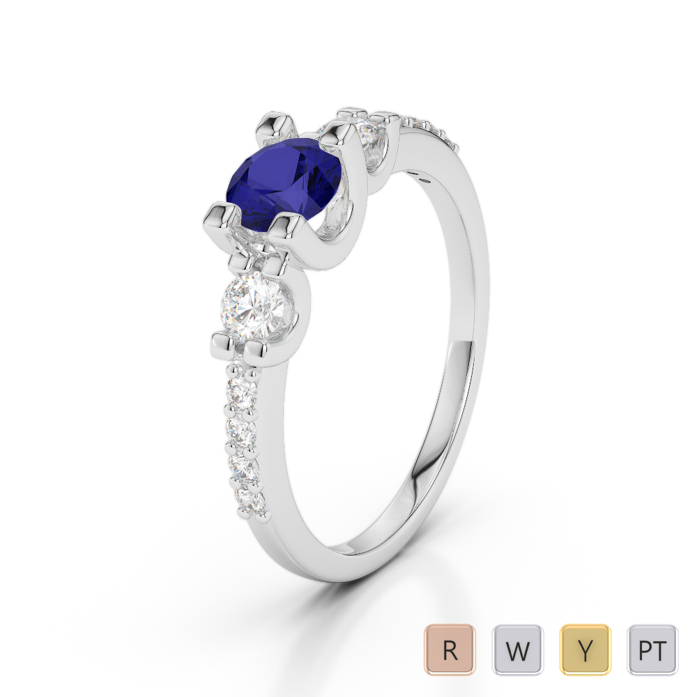 Gold / Platinum Round Cut Sapphire and Diamond Engagement Ring AGDR-1182