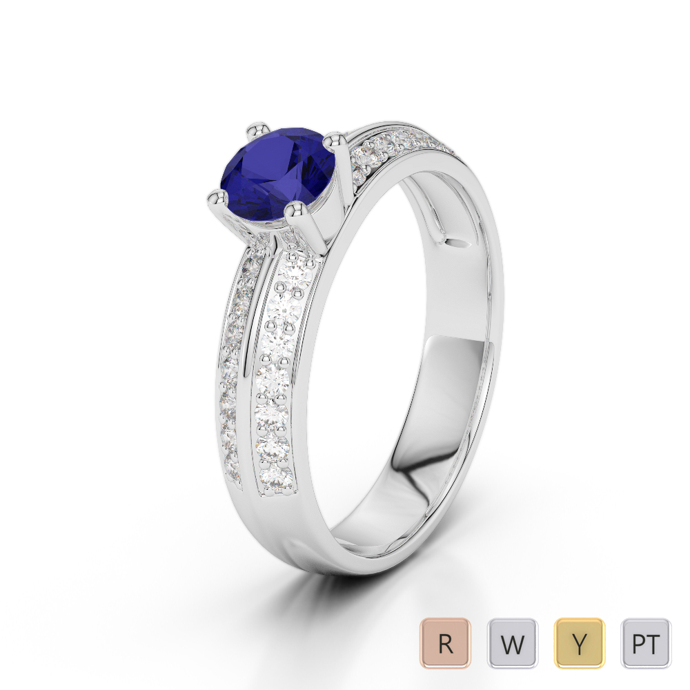 Gold / Platinum Round Cut Sapphire and Diamond Engagement Ring AGDR-1183