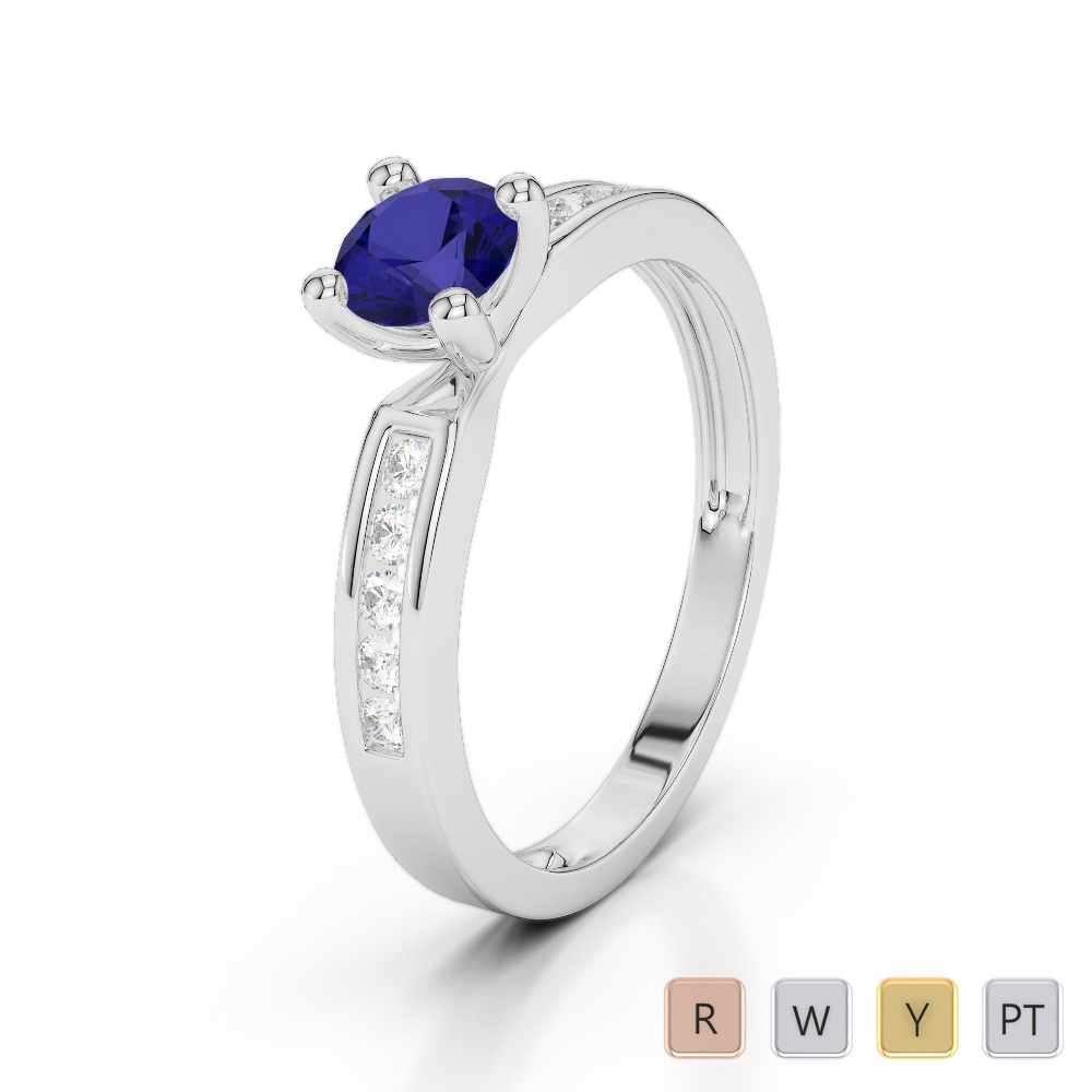 Gold / Platinum Round Cut Sapphire and Diamond Engagement Ring AGDR-1184