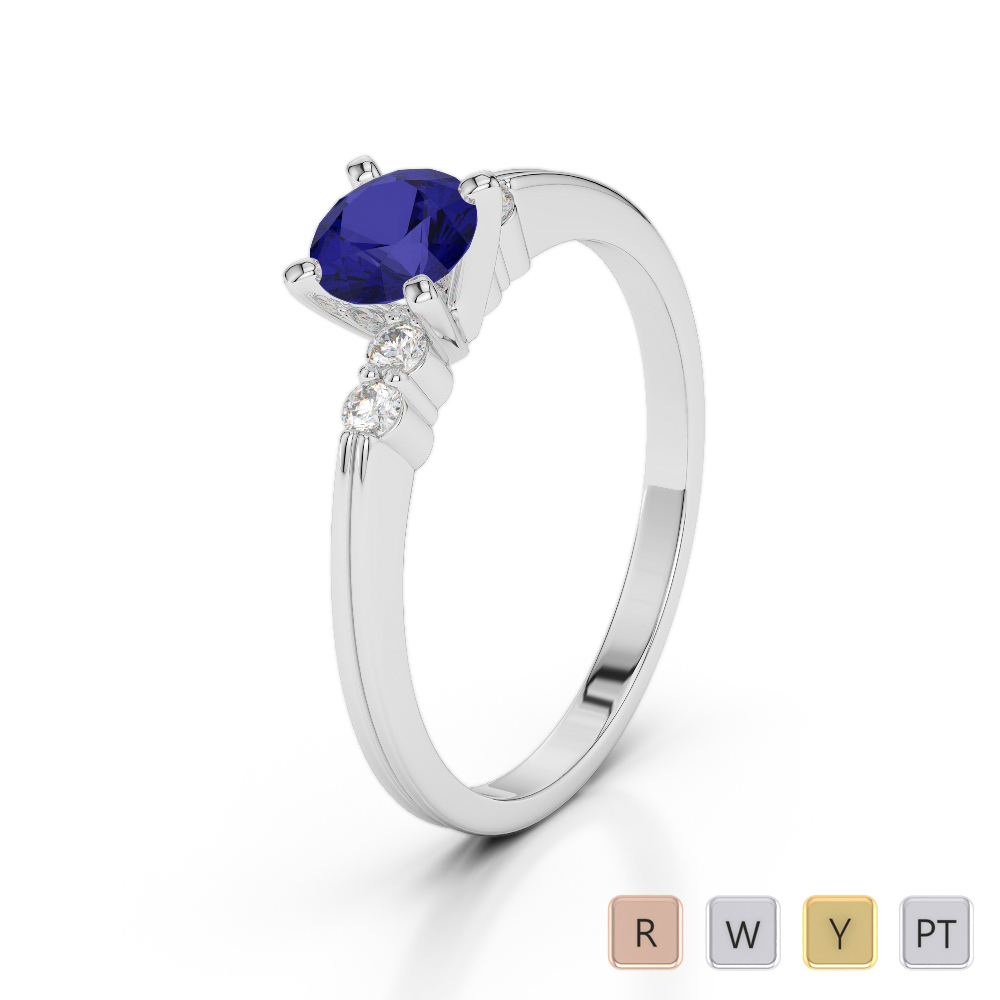 Gold / Platinum Round Cut Sapphire and Diamond Engagement Ring AGDR-1185