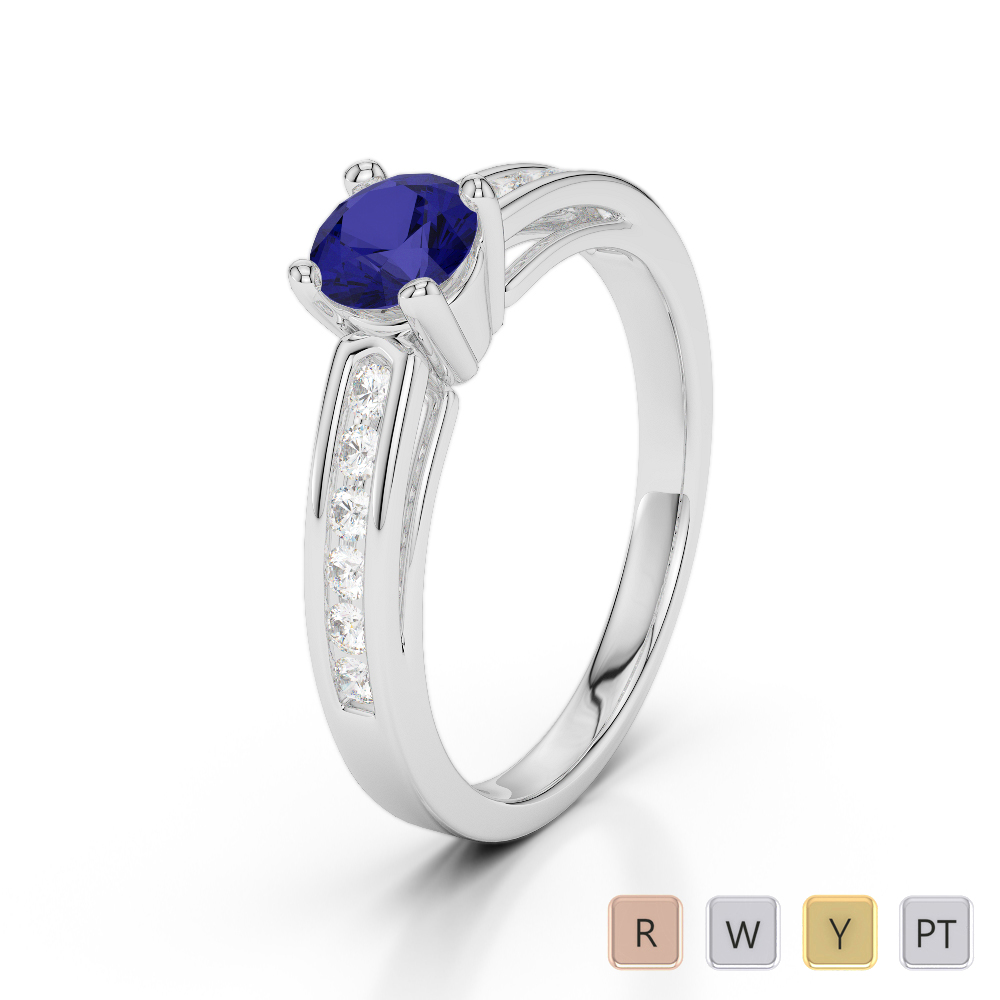 Gold / Platinum Round Cut Sapphire and Diamond Engagement Ring AGDR-1186