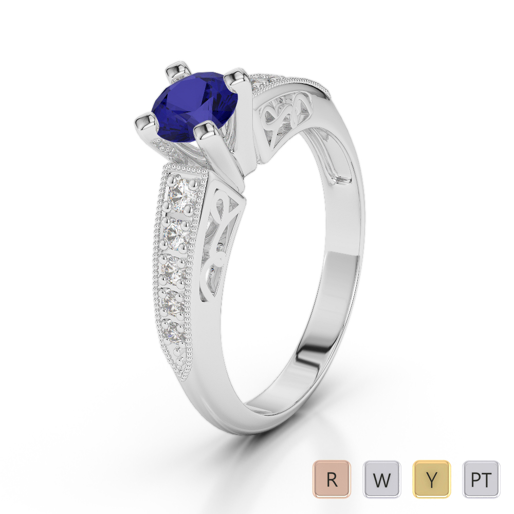 Gold / Platinum Round Cut Sapphire and Diamond Engagement Ring AGDR-1187