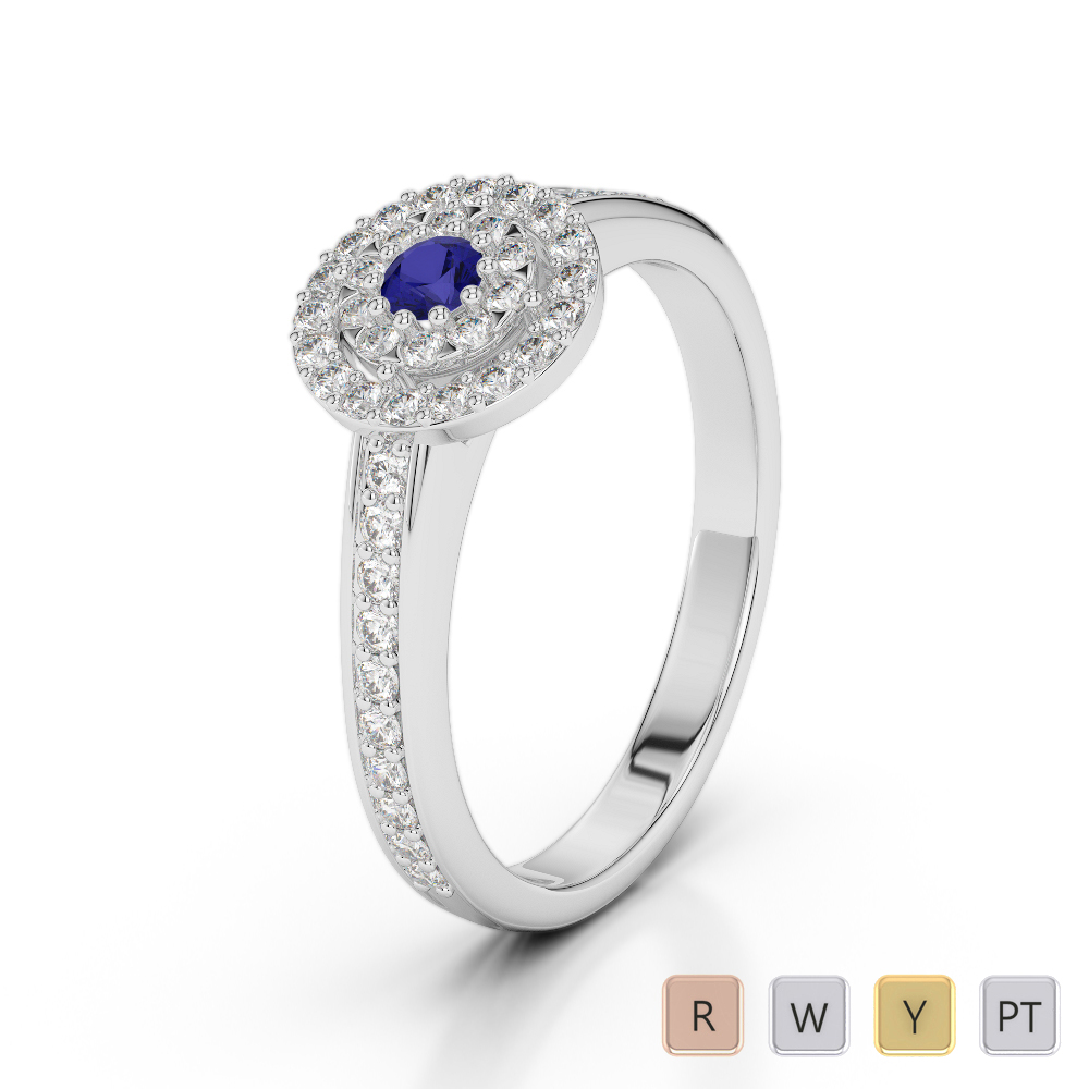 Gold / Platinum Round Cut Sapphire and Diamond Engagement Ring AGDR-1188