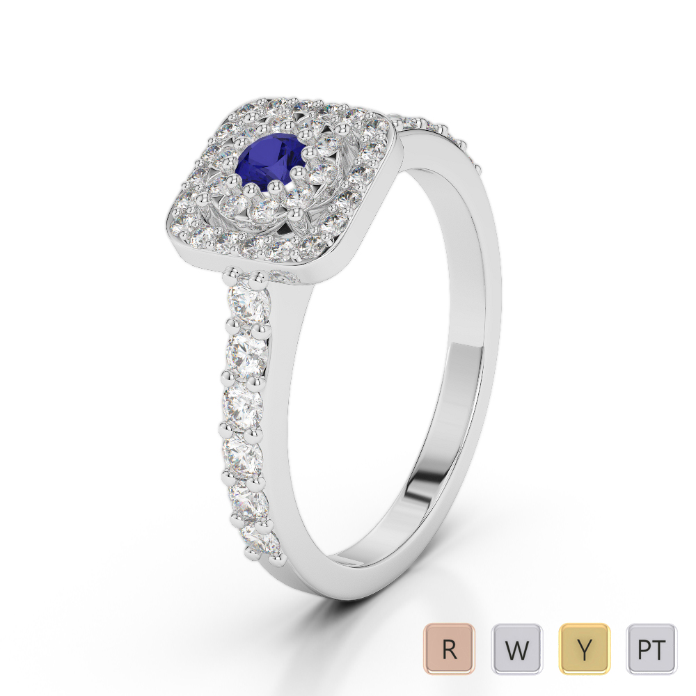 Gold / Platinum Round Cut Sapphire and Diamond Engagement Ring AGDR-1189