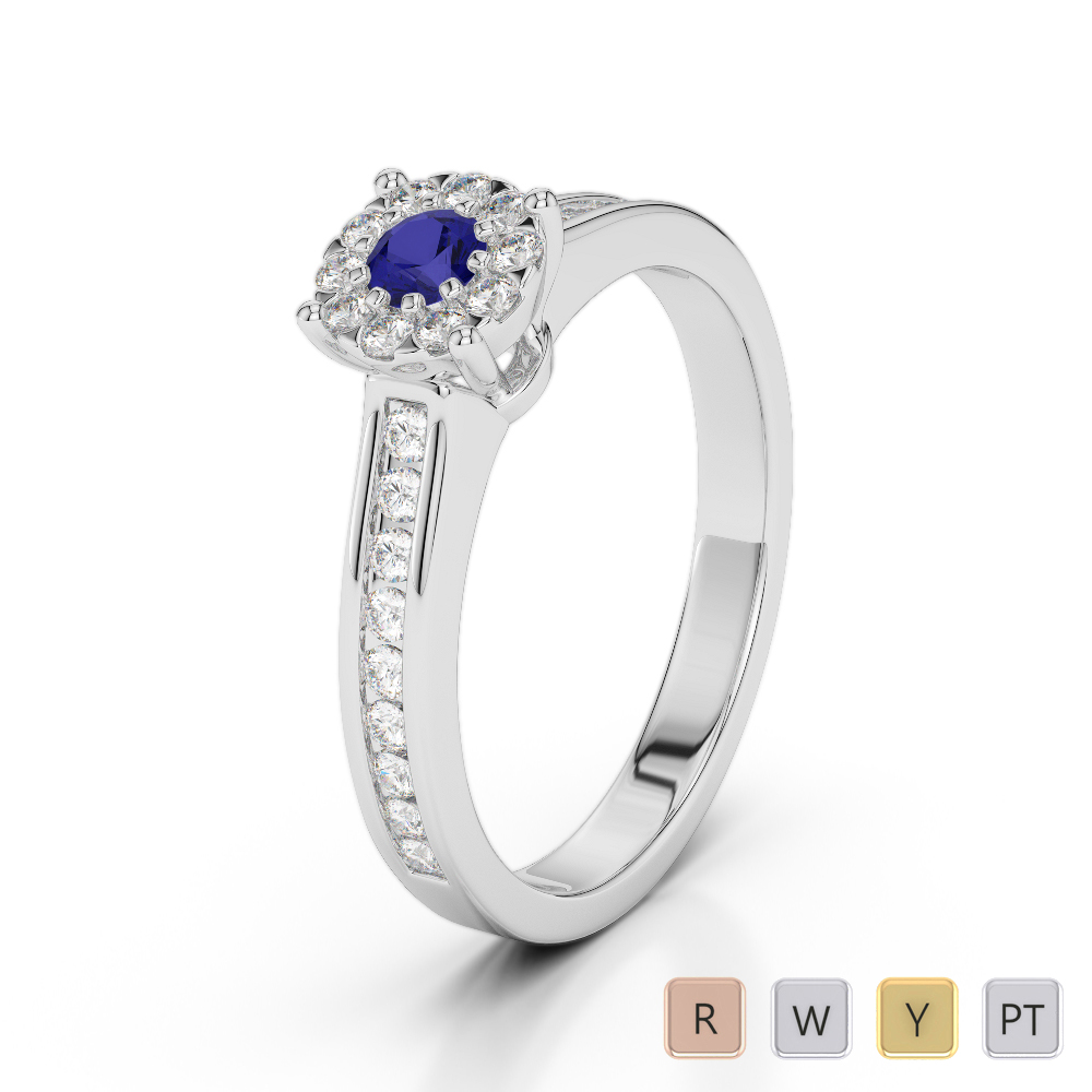 Gold / Platinum Round Cut Sapphire and Diamond Engagement Ring AGDR-1190