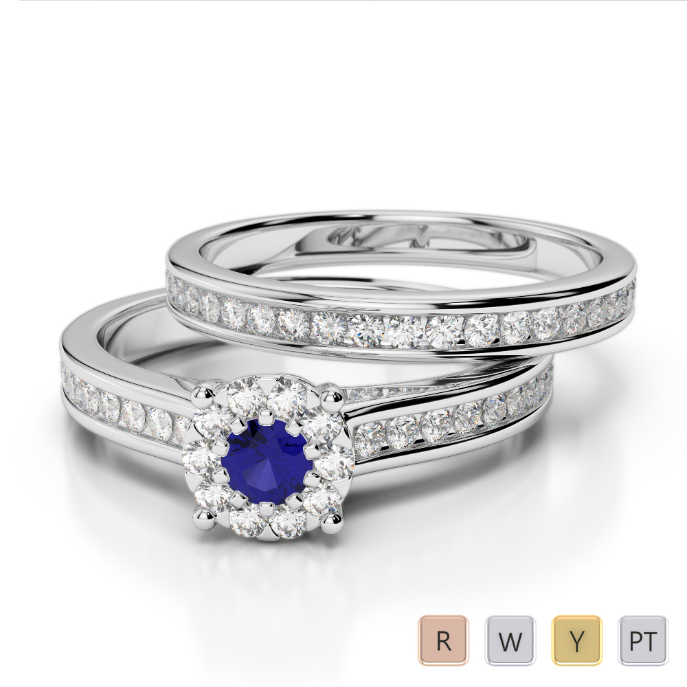 Gold / Platinum Round cut Sapphire and Diamond Bridal Set Ring AGDR-1339