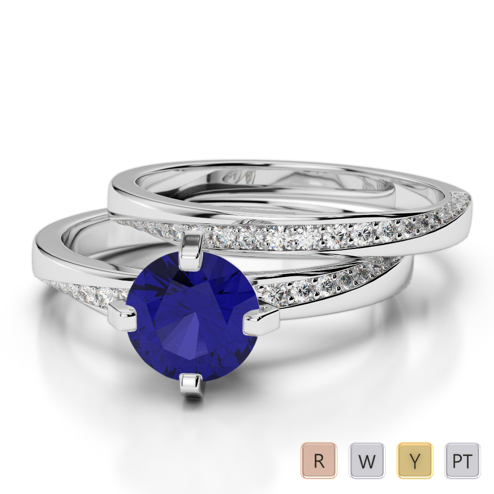 Gold / Platinum Round cut Sapphire and Diamond Bridal Set Ring AGDR-2001