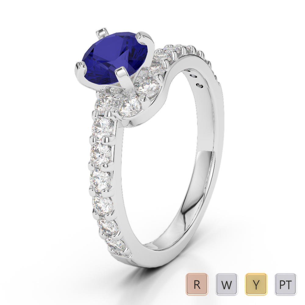 Gold / Platinum Round Cut Sapphire and Diamond Engagement Ring AGDR-2004