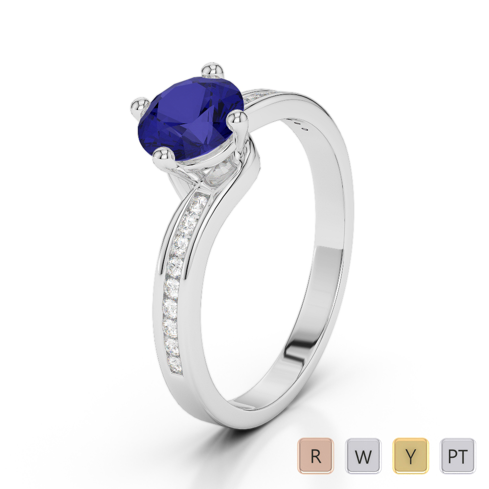 Gold / Platinum Round Cut Sapphire and Diamond Engagement Ring AGDR-2006