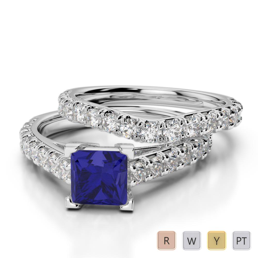 Gold / Platinum Round and Princess cut Sapphire and Diamond Bridal Set Ring AGDR-2007