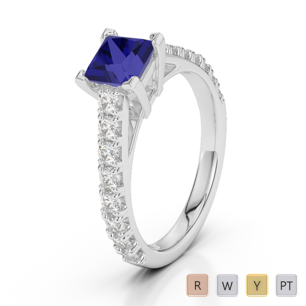 Gold / Platinum Round and Princess Cut Sapphire and Diamond Engagement Ring AGDR-2008