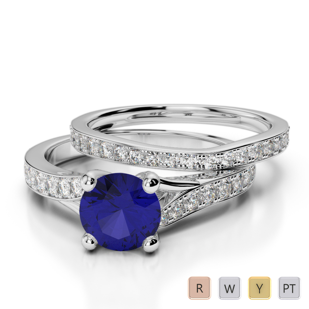 Gold / Platinum Round cut Sapphire and Diamond Bridal Set Ring AGDR-2011