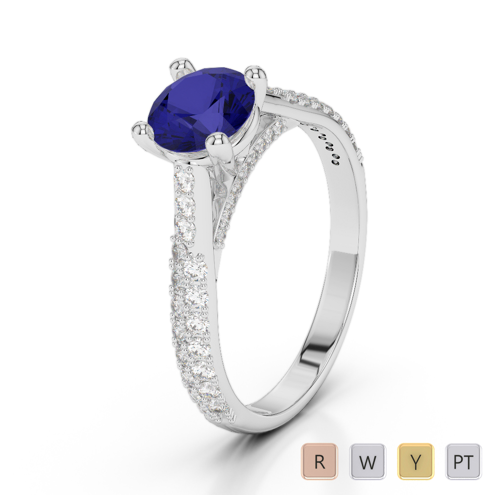 Gold / Platinum Round Cut Sapphire and Diamond Engagement Ring AGDR-2014