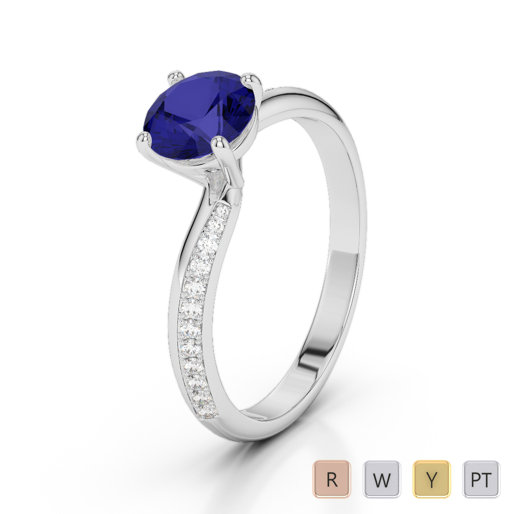 Gold / Platinum Round Cut Sapphire and Diamond Engagement Ring AGDR-2018