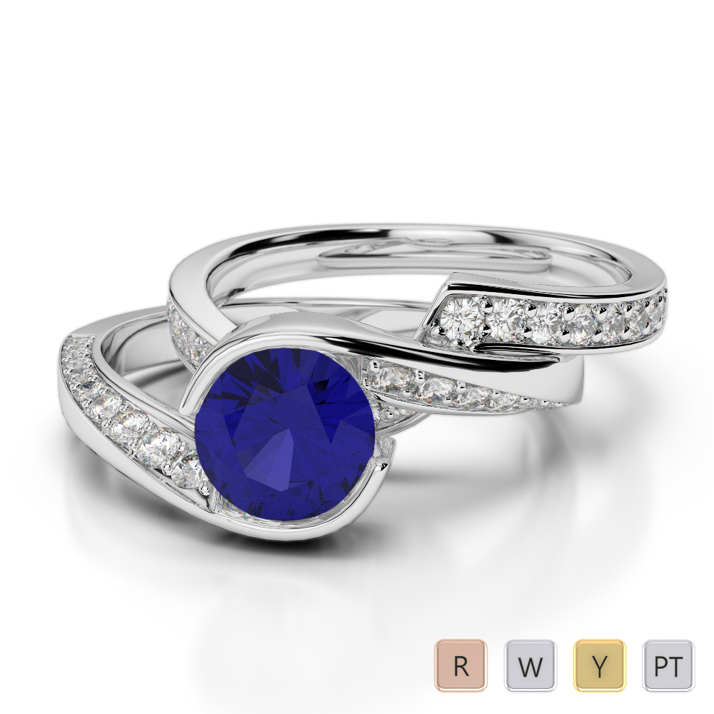 Gold / Platinum Round cut Sapphire and Diamond Bridal Set Ring AGDR-2019