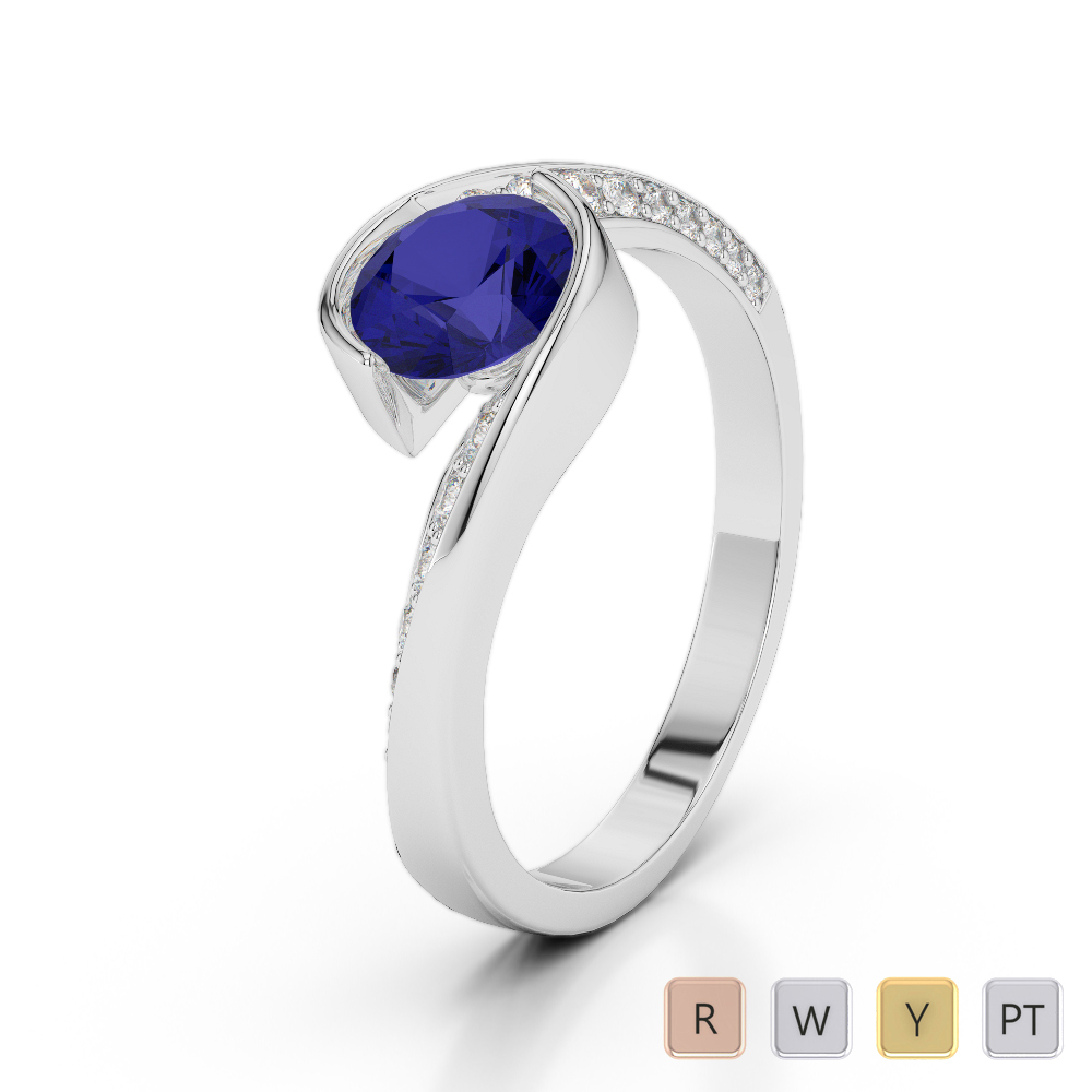 Gold / Platinum Round Cut Sapphire and Diamond Engagement Ring AGDR-2020