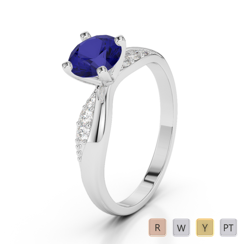 Gold / Platinum Round Cut Sapphire and Diamond Engagement Ring AGDR-2024