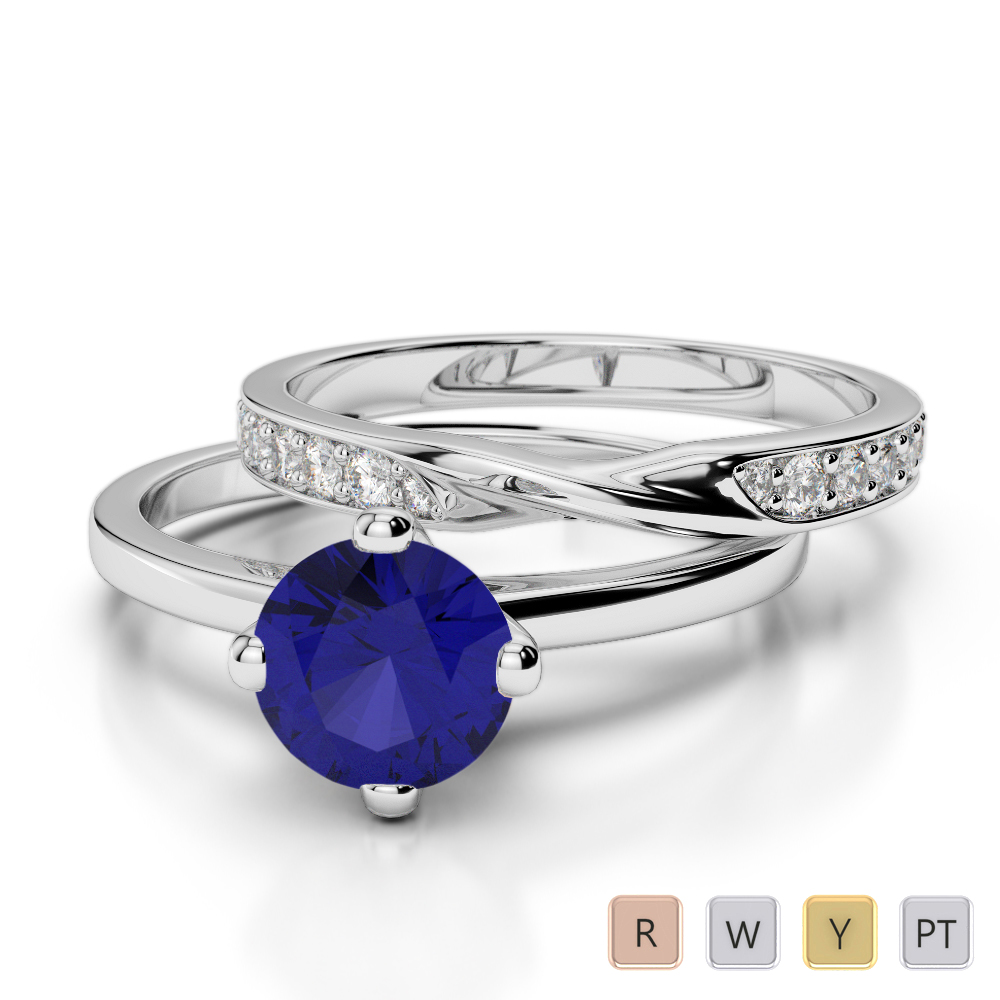 Gold / Platinum Round cut Sapphire and Diamond Bridal Set Ring AGDR-2027